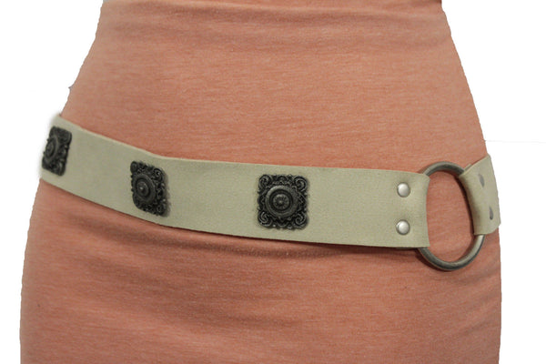 Silver Ethnic Charms Hip High Waist Tie Belt Genuine Suede Leather New Women Fashion Accessories M L - alwaystyle4you - 11
