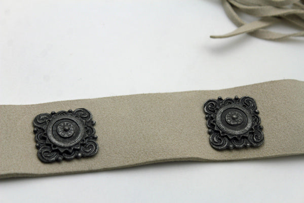 Silver Ethnic Charms Hip High Waist Tie Belt Genuine Suede Leather New Women Fashion Accessories M L - alwaystyle4you - 12
