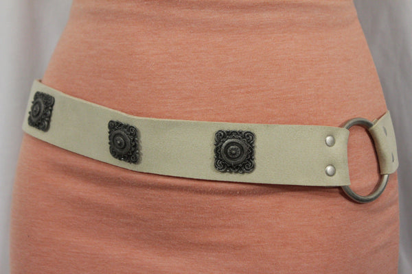 Silver Ethnic Charms Hip High Waist Tie Belt Genuine Suede Leather New Women Fashion Accessories M L - alwaystyle4you - 3