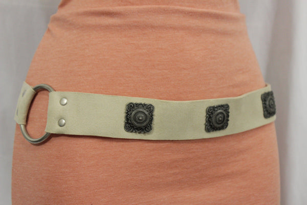 Silver Ethnic Charms Hip High Waist Tie Belt Genuine Suede Leather New Women Fashion Accessories M L - alwaystyle4you - 6