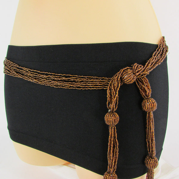 New Women Tie Fashion Belt Gold Or Brown Long Beads Hip Waist Wrap Around S M L