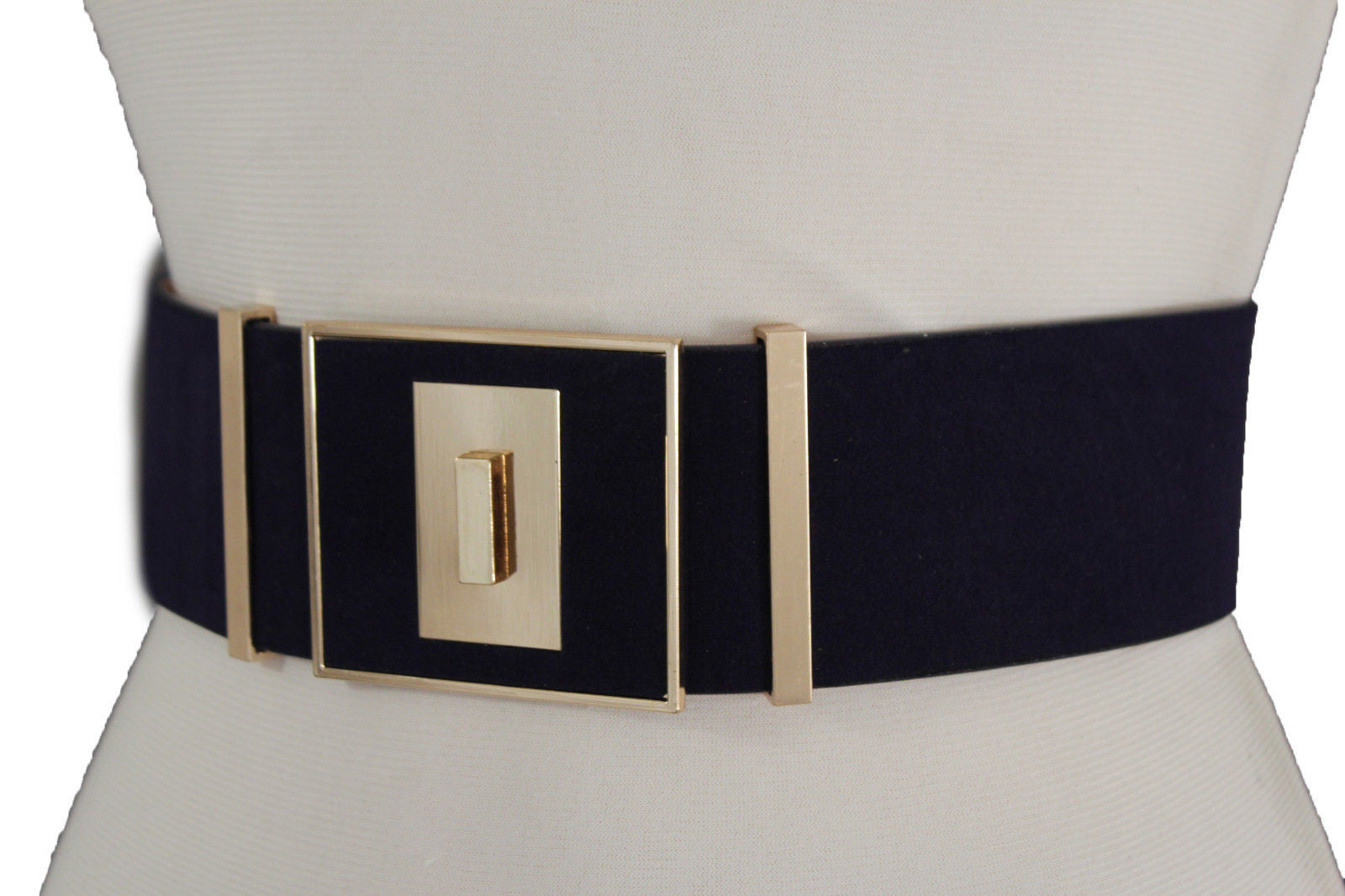 Women Wide Fashion Belt D Taupe Faux Suede Leather Gold Metal Square Buckle S M