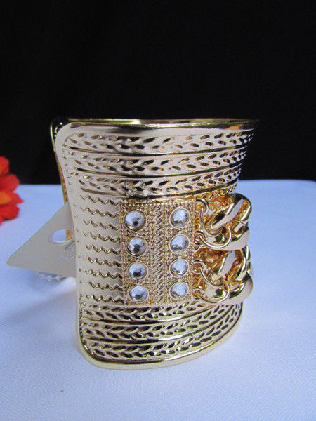 Gold / Silver Metal Chains Wide Cuff Bracelet Side Rhinestones New Women Fashion Jewelry Accessories - alwaystyle4you - 25