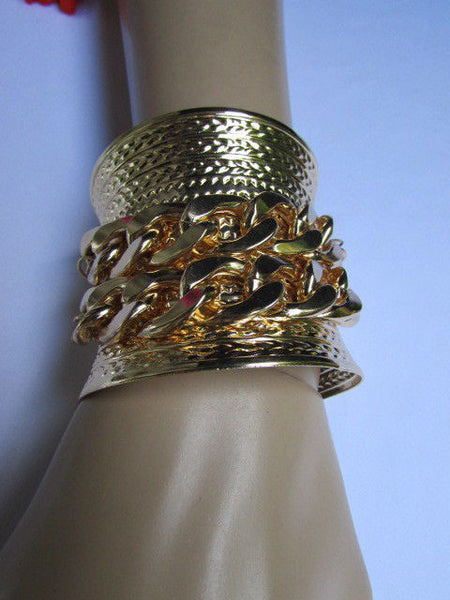 Gold / Silver Metal Chains Wide Cuff Bracelet Side Rhinestones New Women Fashion Jewelry Accessories - alwaystyle4you - 26