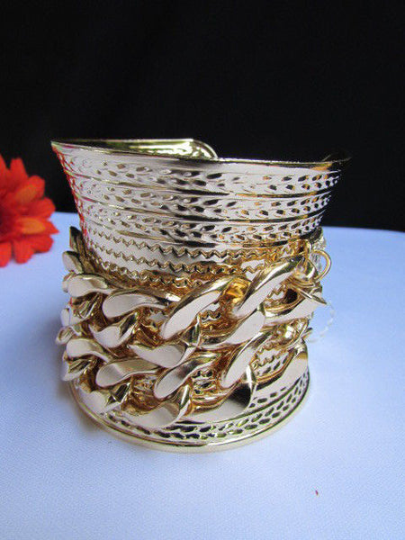 Gold / Silver Metal Chains Wide Cuff Bracelet Side Rhinestones New Women Fashion Jewelry Accessories - alwaystyle4you - 16