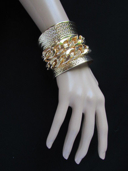 Gold / Silver Metal Chains Wide Cuff Bracelet Side Rhinestones New Women Fashion Jewelry Accessories - alwaystyle4you - 15