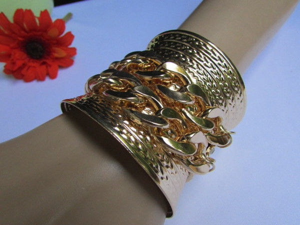 Gold / Silver Metal Chains Wide Cuff Bracelet Side Rhinestones New Women Fashion Jewelry Accessories - alwaystyle4you - 18