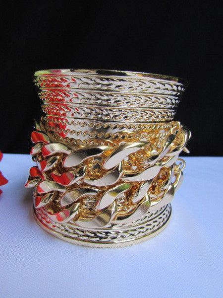 Gold / Silver Metal Chains Wide Cuff Bracelet Side Rhinestones New Women Fashion Jewelry Accessories - alwaystyle4you - 19