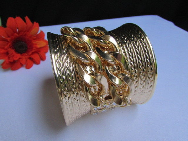 Gold / Silver Metal Chains Wide Cuff Bracelet Side Rhinestones New Women Fashion Jewelry Accessories - alwaystyle4you - 21