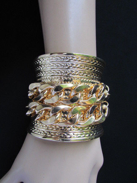 Gold / Silver Metal Chains Wide Cuff Bracelet Side Rhinestones New Women Fashion Jewelry Accessories - alwaystyle4you - 23