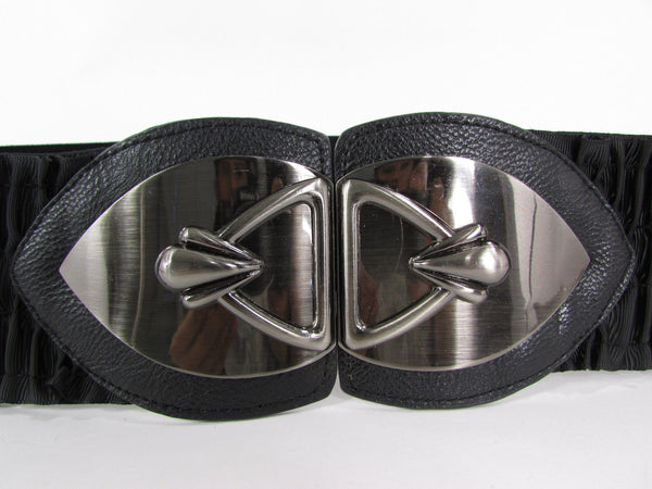 Black Faux Leather Wide Hip Elastic Belt Vintage Metal Pewter Buckle New Women Accessories - alwaystyle4you - 5