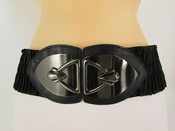 Black Faux Leather Wide Hip Elastic Belt Vintage Metal Pewter Buckle New Women Accessories