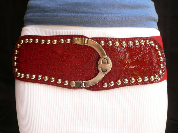 Red Faux Leather Stretch Back Crocodile Stamp Wide Belt Gold Metal Buckle New Women Accessories XS-L - alwaystyle4you - 2