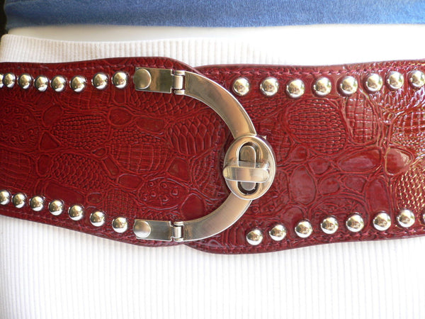 Red Faux Leather Stretch Back Crocodile Stamp Wide Belt Gold Metal Buckle New Women Accessories XS-L - alwaystyle4you - 3