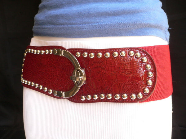 Red Faux Leather Stretch Back Crocodile Stamp Wide Belt Gold Metal Buckle New Women Accessories XS-L - alwaystyle4you - 4