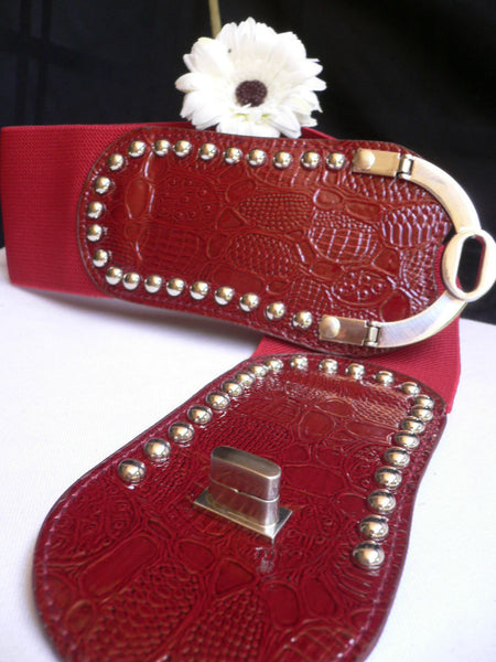 Red Faux Leather Stretch Back Crocodile Stamp Wide Belt Gold Metal Buckle New Women Accessories XS-L - alwaystyle4you - 7