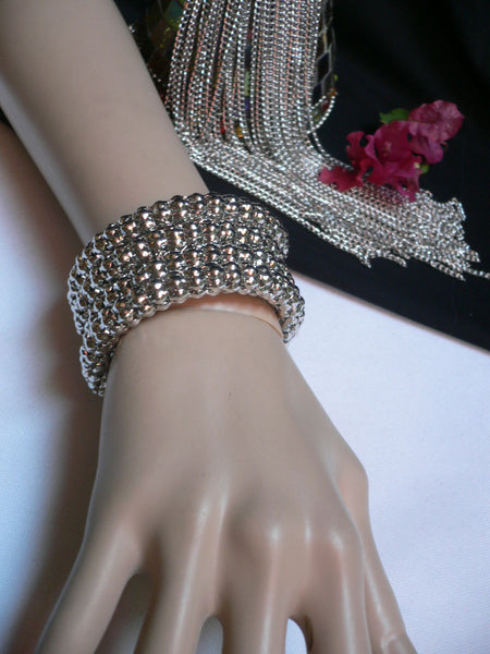 Silver Beads Metal Spring Elastic Wide Bracelet Disco Style New Women Fashion Jewelry Accessories