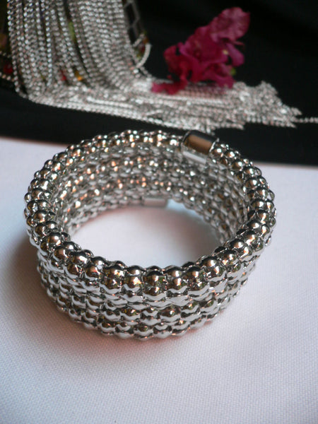 Silver Beads Metal Spring Elastic Wide Bracelet Disco Style New Women Fashion Jewelry Accessories - alwaystyle4you - 2