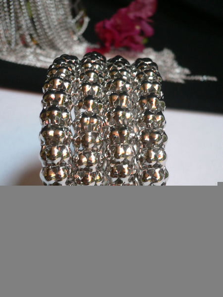 Silver Beads Metal Spring Elastic Wide Bracelet Disco Style New Women Fashion Jewelry Accessories - alwaystyle4you - 5