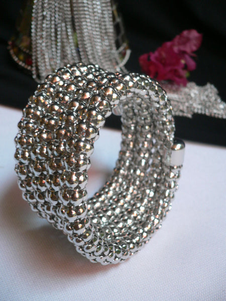 Silver Beads Metal Spring Elastic Wide Bracelet Disco Style New Women Fashion Jewelry Accessories - alwaystyle4you - 6
