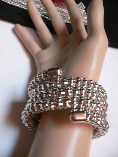 Silver Beads Metal Spring Elastic Wide Bracelet Disco Style New Women Fashion Jewelry Accessories - alwaystyle4you - 8