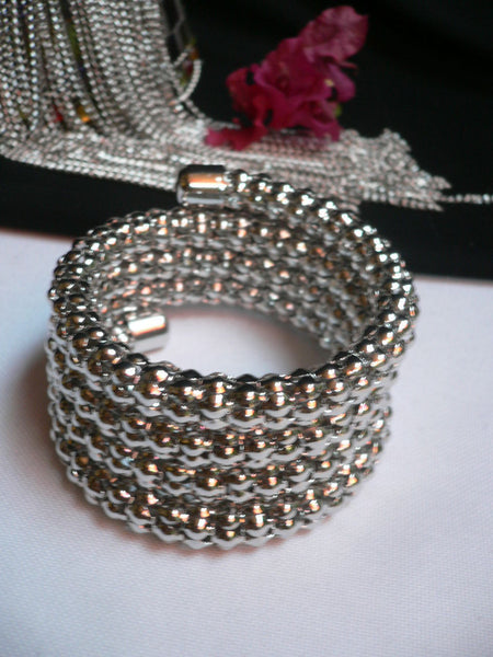 Silver Beads Metal Spring Elastic Wide Bracelet Disco Style New Women Fashion Jewelry Accessories - alwaystyle4you - 10