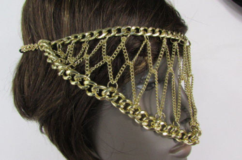 Gold Metal Head Chain Eye Cover Half Face Elastic Mask Thick Halloween Women Accessories