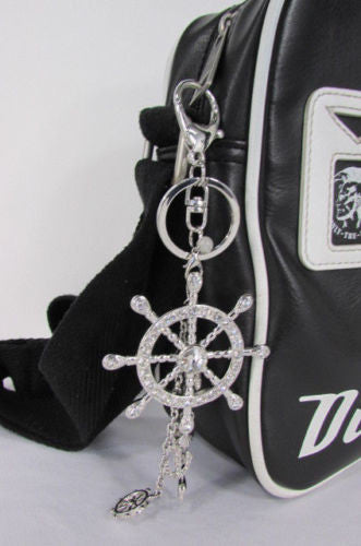 Silver Metal Key Chain Wallet Charm Nautical Sea Anchore Big Ship Wheel  New Women Men Fashion Jewelry Rhinestones Charm - alwaystyle4you - 10