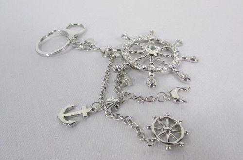 Silver Metal Key Chain Wallet Charm Nautical Sea Anchore Big Ship Wheel  New Women Men Fashion Jewelry Rhinestones Charm - alwaystyle4you - 11
