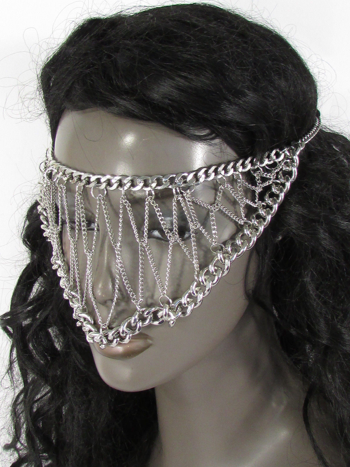 Silver Metal Eye Cover Half Face Elastic Mask Thick Halloween New ...