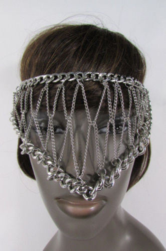 Silver Metal Eye Cover Half Face Elastic Mask Thick Halloween New Women Jewelry Accessories