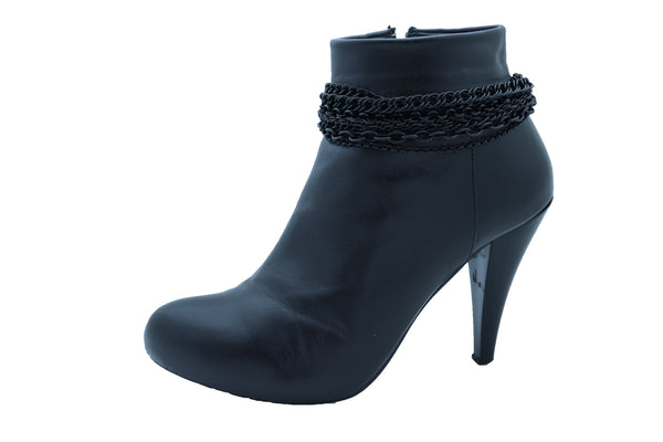 Women Black Color Metal Chain Boot Bracelet Anklet Shoe Wave Charm Texas Western Style One Size