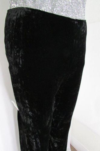 Black Work Pants Dressy Winter Velvet Trousers Oscar De La Renta New Women Fashion Size American 10