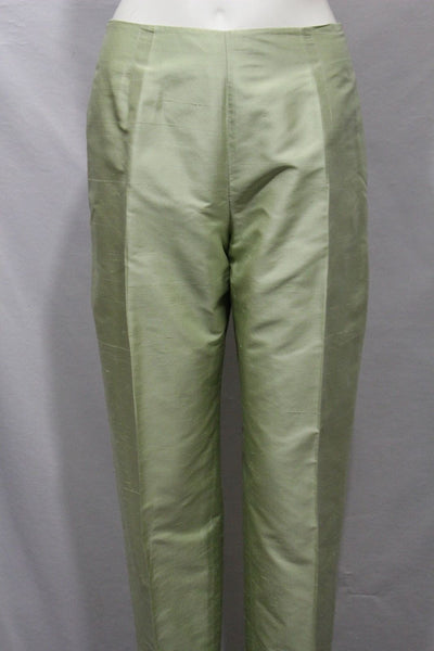 Lime Green Classic High Waist Trousers Pant Flat From Back Oscar De La Renta Women Fashion Size 8