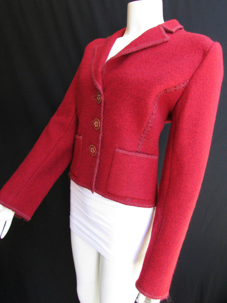 Hot Red Wool Short Jacket Big Buttons Coat Oscar De La Renta Women Size American 10 Italian 44
