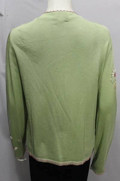 Lime Green Elegant Cardigane Jacket 2 Pcs Tank Top Flower Beads Oscar De La Renta Women Size Medium