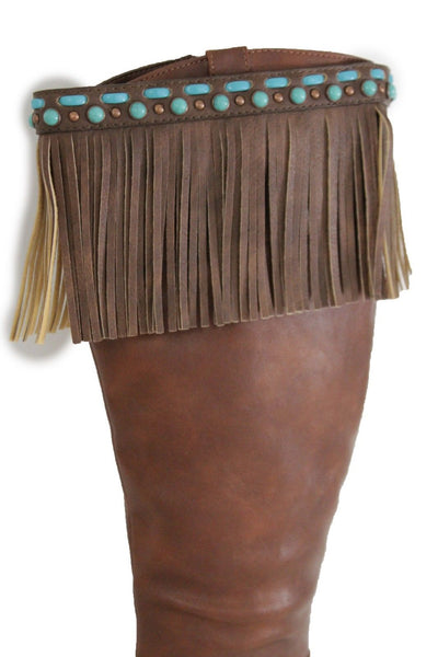 Black Brown Leather Long Fringes Turquoise Blue Beads Western Pair Boots Toppers Women Accessories