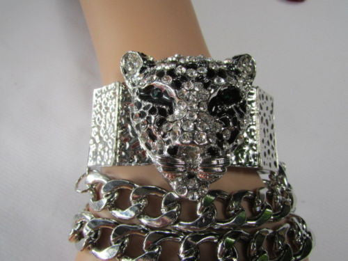 Silver Metal Bracelet Chunky Chains Big Tiger Head Panther Face New Women Fashion Accessories - alwaystyle4you - 12