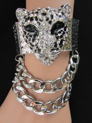 Silver Metal Bracelet Chunky Chains Big Tiger Head Panther Face New Women Fashion Accessories - alwaystyle4you - 1