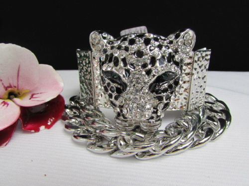 Silver Metal Bracelet Chunky Chains Big Tiger Head Panther Face New Women Fashion Accessories - alwaystyle4you - 7
