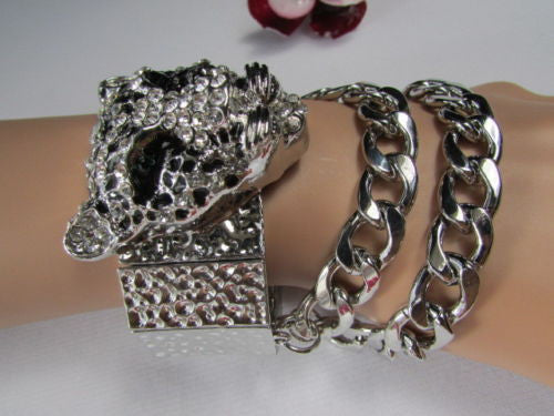 Silver Metal Bracelet Chunky Chains Big Tiger Head Panther Face New Women Fashion Accessories - alwaystyle4you - 10