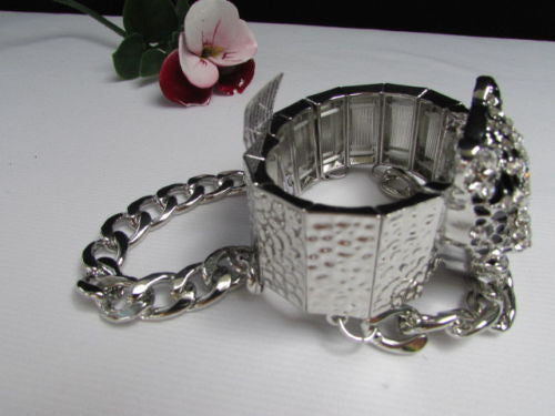 Silver Metal Bracelet Chunky Chains Big Tiger Head Panther Face New Women Fashion Accessories - alwaystyle4you - 11