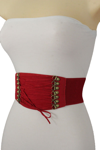 Brown Black Pink Red Faux Leather Elastic Band Wide Corset Belt Tie Hot Women Accessories S M