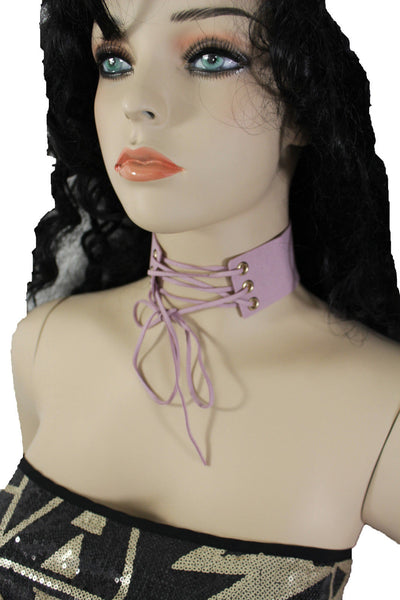 Dark Blue Metallic Rose Gold Pastel Pink Animal Print Leopard Brown Wide Denim Fabric Corset Long Tie Choker Necklace New Women Accessories