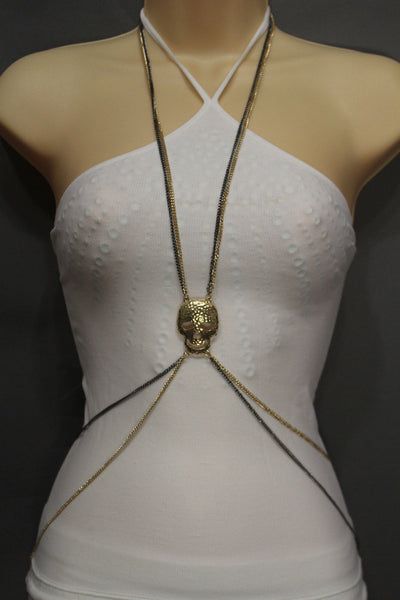 Pewter Gold Silver Metal Body Chains Harness Skeleton Skull Long Necklace New Jewelry Accessories