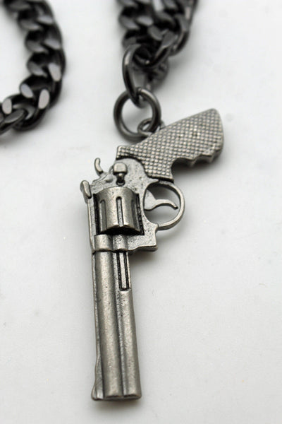 Pewter Metal Chain Weapon Western Pistol Gun Pendant Soldier Long Necklace New Men Fashion Accessories