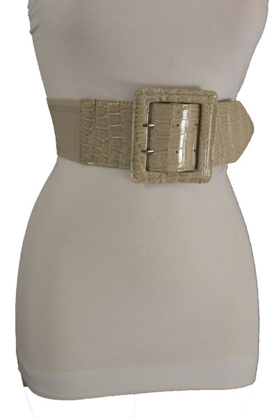 Pink Brown Purple Nude Beige Red Faux Leather Elastic High Waist Belt Buckle Women Accessories Plus