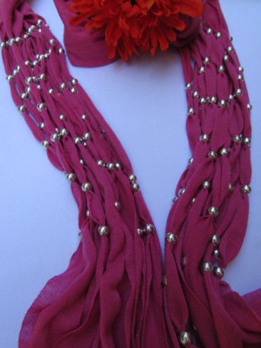 Pink Soft Fabric Scarf Multi Silver Balls Beads Pendants Necklace New Women Fashion Accessories