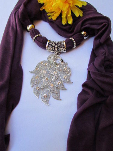 Purple Gray Elegant Soft Fabric Scarf Long Necklace Big Silver Peacock Pendant Women Accessories