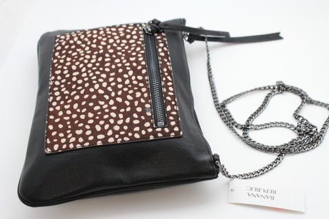 Black Faux Leather Leopard New  Purse Clutch Bag Banana Republic Women Fashion